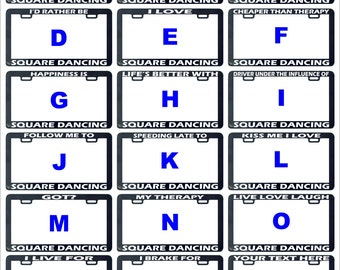 Square dancing dance assorted funny humor license plate frame holder tag