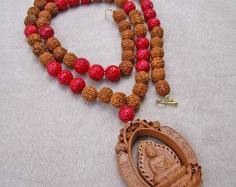 """Double Sided Buddha and Kuan Yin Wood Pendant with Red Coral and Rudraksha Beads Necklace(30"""")"""