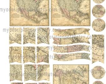 Vintage Maps insert/planner sticker sheet