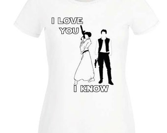 Star wars t shirt love han solo princess leia