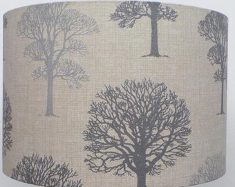 Grey and Silver  Linen Woodland trees Lampshade // Table or Ceiling