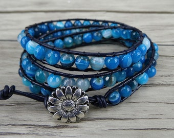 bead wrap bracelet Leather bead bracelet Blue agate beads bracelet Yoga beaded bracelet Gemstone wrap bracelet boho bracelet  SL-0180