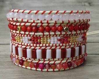 Gypsy wrap bracelet beaded leather bracelet Boho beaded bracelet yoga bead bracelet Red bracelet 5 wraps bracelet beadwork jewelry  SL-0231