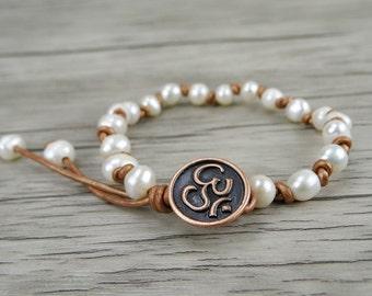 Real pearl bracelet leather pearl bracelet Single wrap bracelet women pearl wrap bracelet Fresh water pearl bracelet OM bracelet SL-0237