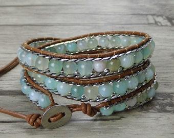 Agate wrap bracelet blue gemstone bracelet Boho wrap bracelet chain bead bracelet yoga Leather wrap bracelet gypsy weaving bracelet SL-0360
