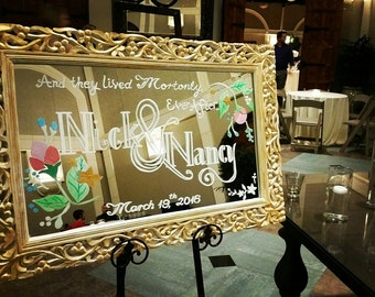 Custom hand painted Welcome Wedding Mirror - Make a grand statement with this welcome mirror sign