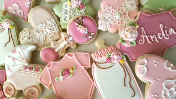 vintage baby shower cookies heart cookies lace cookies girl, Baby shower invitation