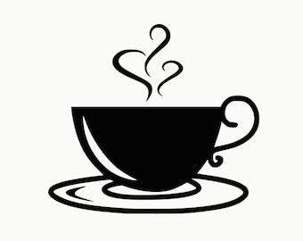 Coffee Cup Mug Vinyl Decal Sticker for wall, macbook, laptop, car, bumper sticker