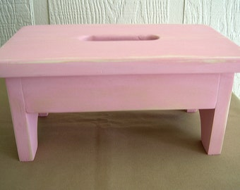 Wooden Stool, Stepstool, Bench - Light Pink, Nursery, Bathroom