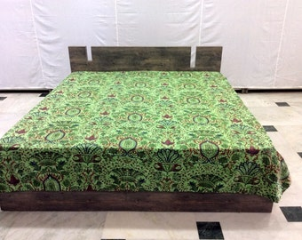 Kantha Quilt Cotton Bed Sheet Mughal Design Handmade Bedspread Queen Size Bed Cover Throw Green Color Throw
