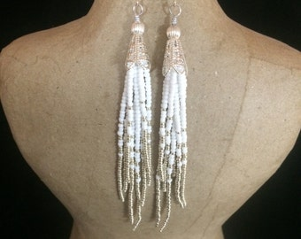 White and Silver Tassel Earrings