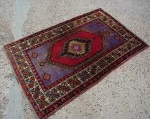 SALE,Vintage Handwoven Rug,Blue Carpet,Blue Rug,1950 Turkish Carpet,Blue Gift,Home Decor,Area Blue Rug,Unique Handmade Blue Rug,Antique