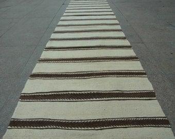 100% Organic Wool,Rug Runner,Kilim Runner,Runner Rugs,Hallway Rugs,Long Rug Runner,Handwoven Rug Wool With Brown Striped,Traditional Rugs