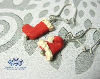 "Sterling Silver Earrings - ""Santa's Hat and Sock"""
