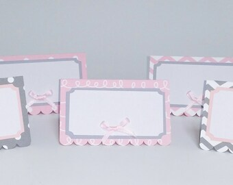 Pink and Grey Place Cards, Food Labels, Food Signs, Pink and Grey Labels, Place Cards, Pink and Grey, Pink and Grey Birthday, Name Cards