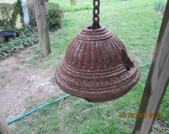 Antique NY Fire Hydrant Top With Chain To Hang & Make Into Industrial One of A KInd Lamp / Outside or Inside Light. Very Kool Chandelier!