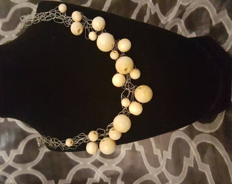 Wooden bead wire crochet necklace