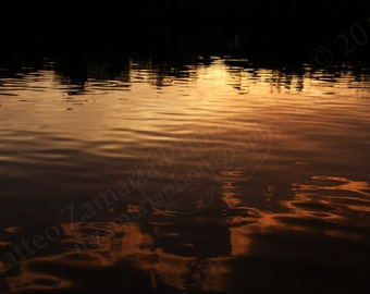 Reflected Sunset Photo Print; Water Photography, Sunset Photography, Travel Photography, Beach Photography, Ocean Photo  || PHYSICAL PRINT