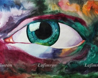 Colorful print Digital download art Printable all seeing eye Big eye painting Colorful unique watercolor Godness art Expressive Saturated