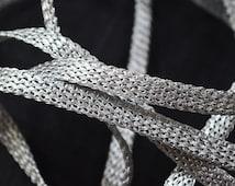 Metallic Silver Trim, Decorative Trim, Woven Braid Gimp Trim for upholstery trimming / Sari Border / Lehenga Dresses for Wedding
