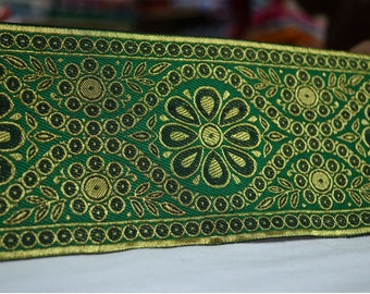 Gold Brocade Border Extra wide Indian Border for Sari and Dresses - Green Black Gold Trim / Lace / Ribbon - Brocade Border by the Yard
