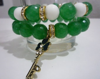 Green Aventurine bracelets and agate white