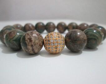 Ocean Jasper,Jasper,Gemastone bracelet,Woman Ocean Jasper bracelet,Gold micropave cubic zirconia,Gift,Gift for her,Gemstone,Gemstone bracele