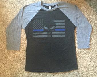 Thin Blue Line LEO Punisher Flag Soft Raglan