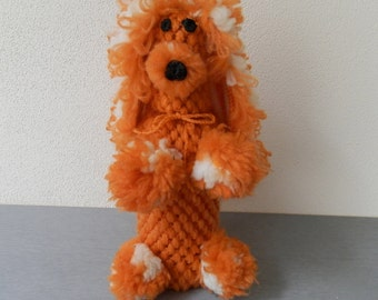 Vintage Hand Knitted Poodle Dog / Hand- Knitted Bottle Cover / Dog Bottle / Bottle Dressed In Knitted Dog / Great Gift