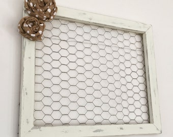 Distressed, White Chicken Wire Frame; 20x17 inches/Shabby Chic