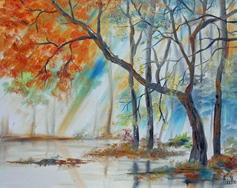 """Painting """"Trees at the water's edge"""""""