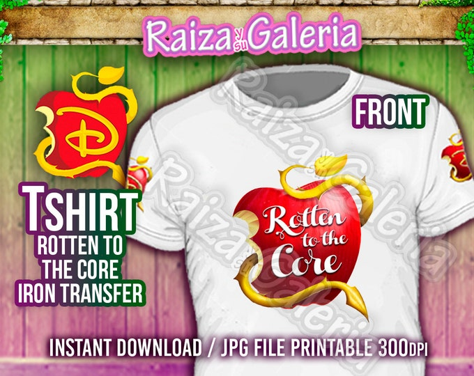 Disney Descendants Rotten to the Core T-Shirt Front, Back and Side. Iron On tshirt transfers! Printable Descendants Party Tshirts!