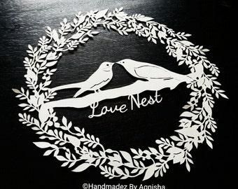 Floral Wreath and love birds DIY Papercut Template