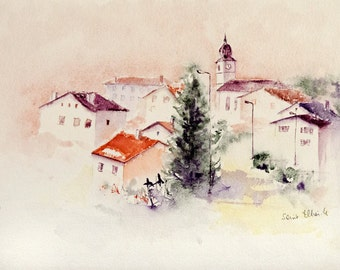 Original watercolor of a village in France, with houses, church, and tree, original painting of France