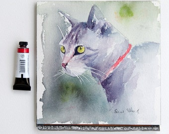 Cat watercolor - Original painting, Original Watercolour, Watercolor, cat watercolour