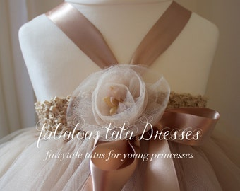 Caramel Latte tulle tutu flower girl dress with handmade tulle flowers and bows.