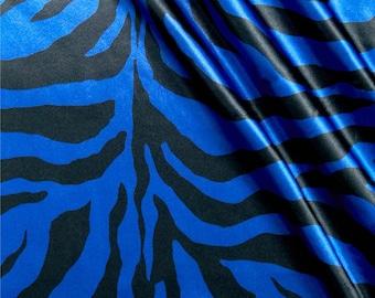 Apparel Fabric, Clothing Fabric, Zebra Blue/Black, Silk-Like Fabric, Satin, Scarf Fabric, Dress Fabric, Blouse/Belt/Sash Fabric, Home Decor