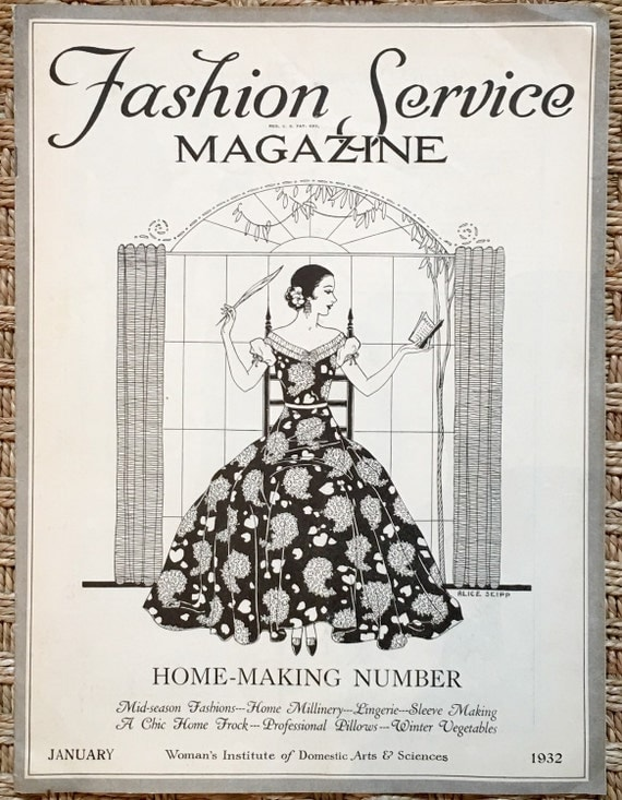 Fashion Service Magazine, January 1932 - home sewing magazine with lingerie pattern