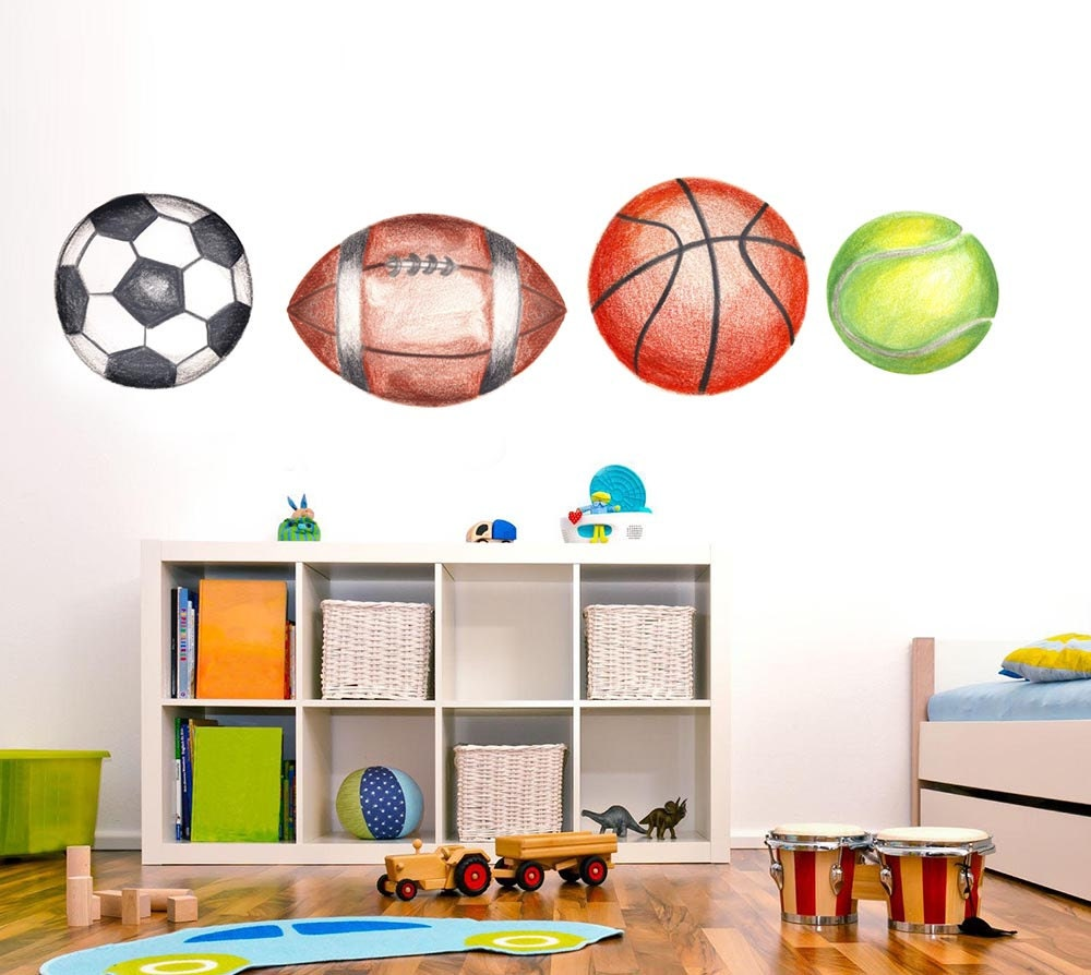 Sports theme room sports wall decal for kids sports decals for Sports decals for kids rooms