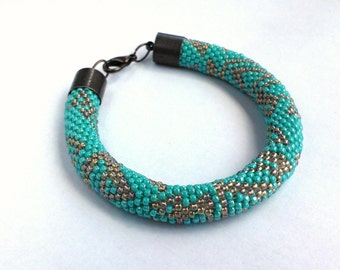 Turquoise Bracelet  Bead Crochet Turquoise Bracelet - Toho Crochet Beaded Jewelry Beadwork