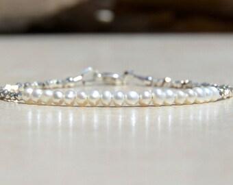 June Birthstone, Freshwater Pearl Bracelet, Pearl Birthstone, June Bracelet, Wedding Jewelry, Natural Genuine Pearl, Bridesmaids Bracelet