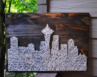 Customizable City Skyline String Art, Seattle