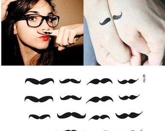 Hipster Mustache - Temporary Tattoos // Body Art // Cool // Tumblr Style // Summer // Party