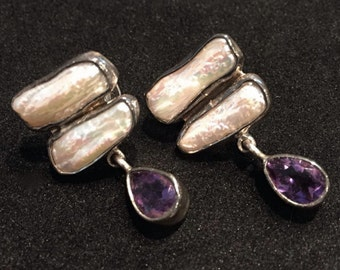 1980's Biwa Pearl & Sterling Silver Earrings • With Dangling Amethyst Drops • Post Backed • Unique Style