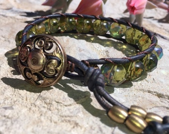 Boho beaded leather wrap bracelet
