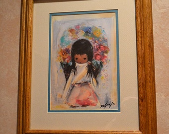 Vintage Ted DeGrazia Framed and Matted Flower Girl Print
