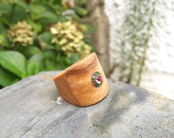Chansthinks Lignum Vitae Gem Wooden Ring