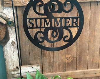Back To School Sale -Metal Yard Decor for your Yard Flag / Garden Flag Stand - Circle w/ Last Name In Middle Monogram