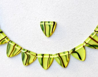 13mm Czech Glass Triangle Beads - Various Mixed Colors - Qty 20
