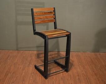 Industrial Rustic Style Solid Wood u0026 Iron Bar Stool & Industrial bar stool | Etsy islam-shia.org